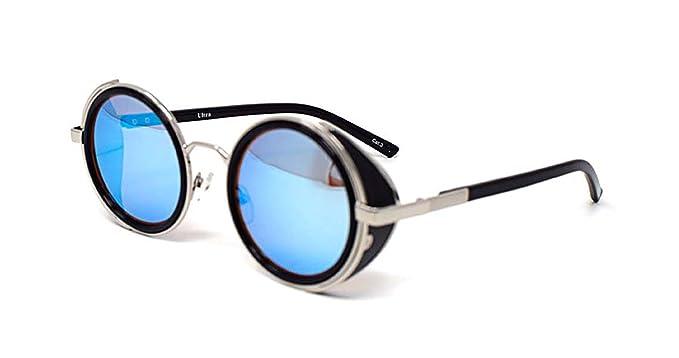 Lunettes de soleil ultra Steampunk 50 ans ronde verres UV400 protection disponible argent brun bleu miroir imprimé léopard et thé cuivre Cyber Goggles Goth Rave Vintage (Lentilles bruns) RV4vKTB8OK