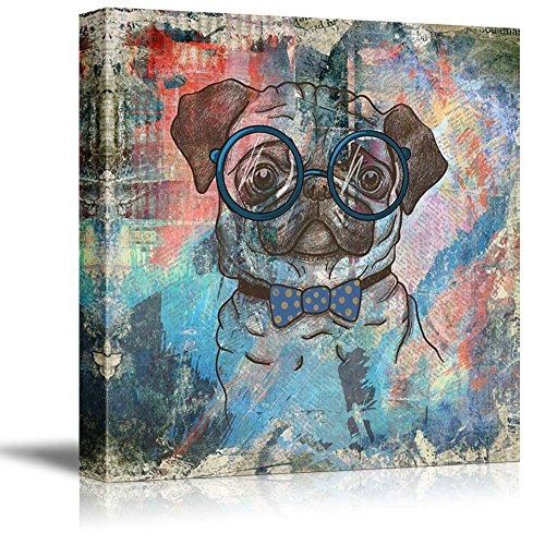 wall26 Square Dog Series Canvas Wall Art - Vintage Style Colorful Painting of a Pug with Glasses - Giclee Print Gallery Wrap Modern Home Decor Ready to Hang - 24x24 inches]()