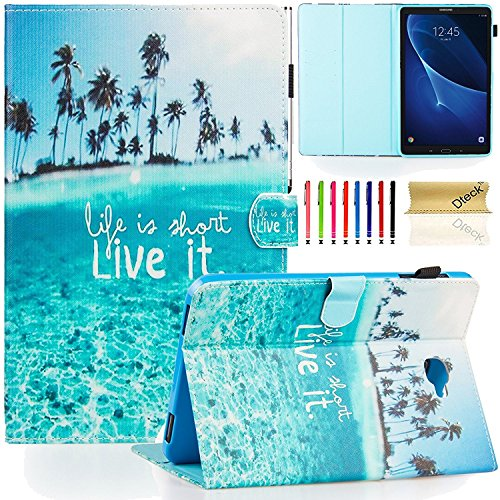 T580 Case,Samsung Galaxy Tab A 10.1 Case - Dteck(TM) Kickstand PU Leather Smart Cover with [Card/Money Holder] Flip Folio Wallet Case Cover for Samsung SM-T580/T585, Charming Beach