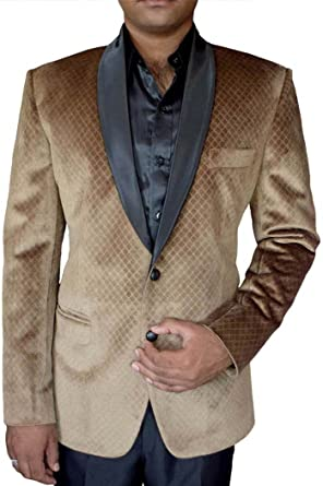 INMONARCH Mens Slim fit Casual Tan Color Velvet Blazer Sport Jacket Coat Shawl Lapel VB18294