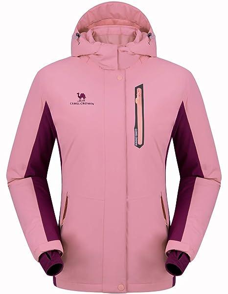 CAMEL CROWN Chaqueta Impermeable con Capucha para Mujer A Prueba de Viento Chaqueta de Esquí con