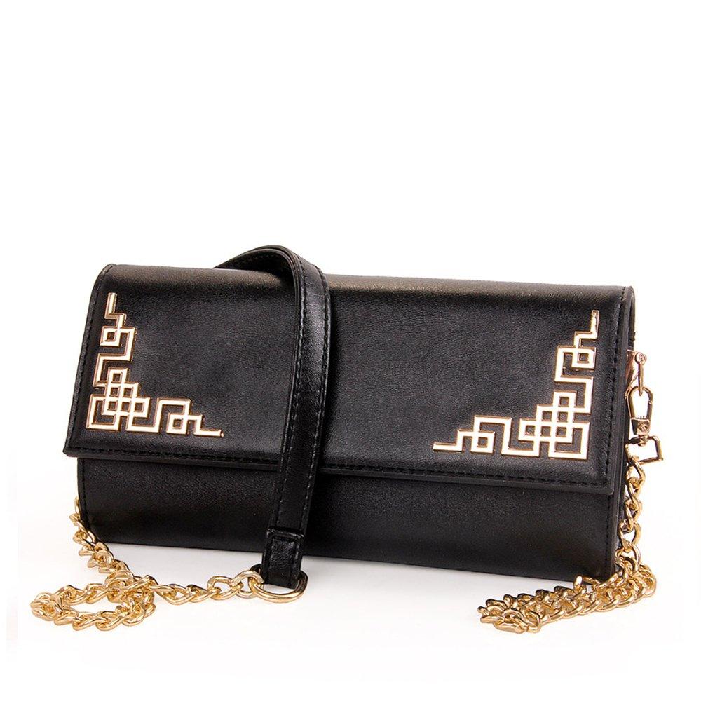 ANSAN Women Metallic Angle Flower Flap Evening Bag Cocktail Wedding Party Handbag Clutch Purse Wallet - Diff Colors Avail Black