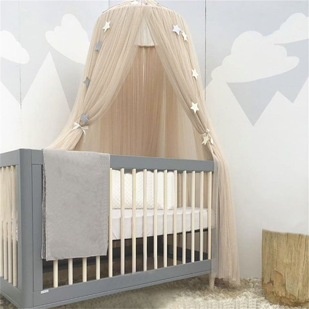 Bed Canopy Cotton Round Dome Mosquito Net Kids Reading Nook Play Tents Hanging Curtain for Baby Children Bedroom Decoratioin (Khaki) Lee store