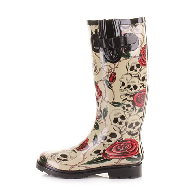 Womens Skulls and Roses Wellies Festival Boots SIZE 5: Amazon.co.uk: Shoes  & Bags