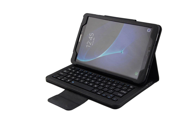 Funda con Teclado en espa/ñol conexi/ón Bluetooth y Extra/íble para Tablet Samsung Galaxy Tab A 2016 10.1 T580 // T585 Cristal Templado protecci/ón Incluye Letra /Ñ Color Negro