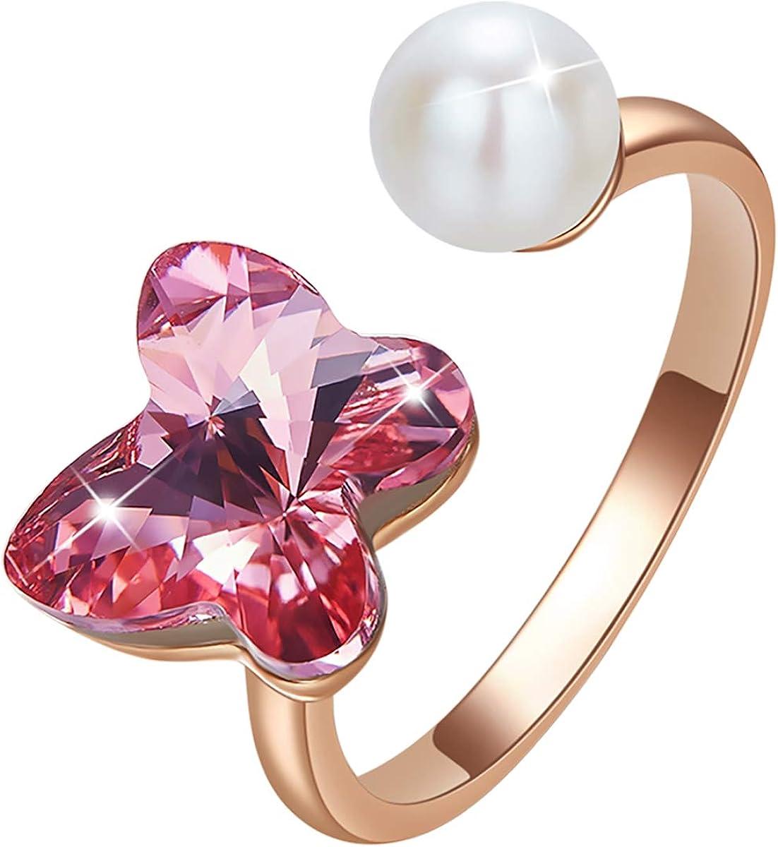 CRYSLOVE Femmes Bague Ouverte Blanc Plaqu/é R/églable Cube Cristal Fleur Taille Libre Bague Ouverte Saint Valentin Anniversaire Cadeaux Bijoux