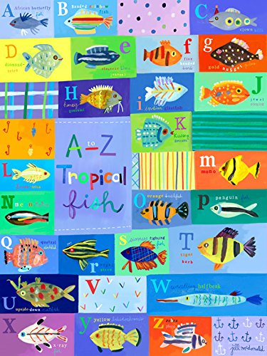 [Oopsy Daisy A-Z Tropical Fish Stretched Canvas Wall Art by Jill Mcdonald, 18 by 24-Inch] (Az Tropical Fish)