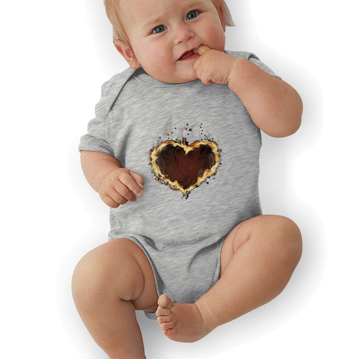 Infant Baby Boys Bodysuit Short-Sleeve Onesie Flame Heart Print Rompers Summer Pajamas