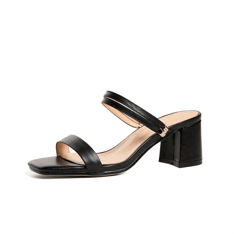 Zapatos de mujer New Look Mujeres Sandalias de punta abierta Zapatos de mujer Sandalias de verano PU Comfort Sandalias de tacón grueso Sandalias de moda Sandalias de mujer ( Color : Negro , tamaño : 35 ) 35 Negro