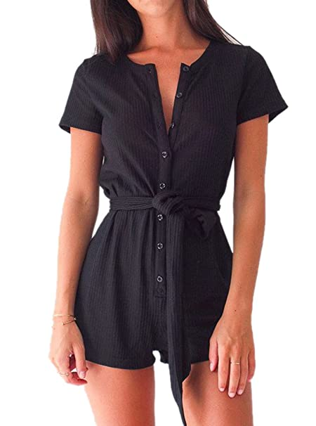 91c743d37e8 Amazon.com  Women Short Sleeve Romper Summer Button Up Shorts Jumppsuit  with Waist Belt  Clothing