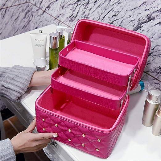 Estuche de vanidad cosmética caja de belleza urba Bolsa de viaje de maquillaje PU Lether Estuche de cosméticos a prueba de agua para niñas adolescentes Artistas Estuche de cosméticos Viaje con regalo: