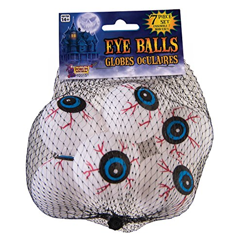 Forum Halloween Haunted House Crazy Eye Balls Decoration Prop, White Red, 7 Pack