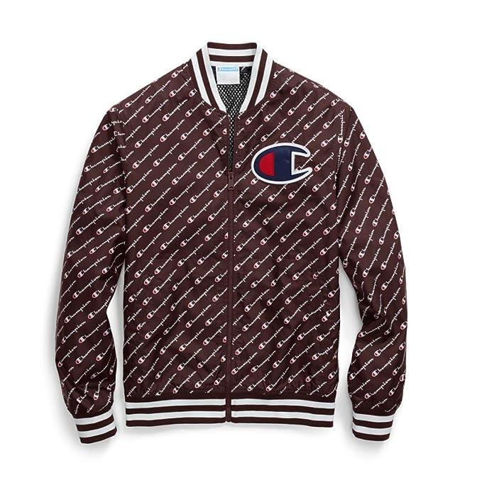 0566329c Champion Life Men's Satin Baseball Jacket, Diagonal Script Maroon Small
