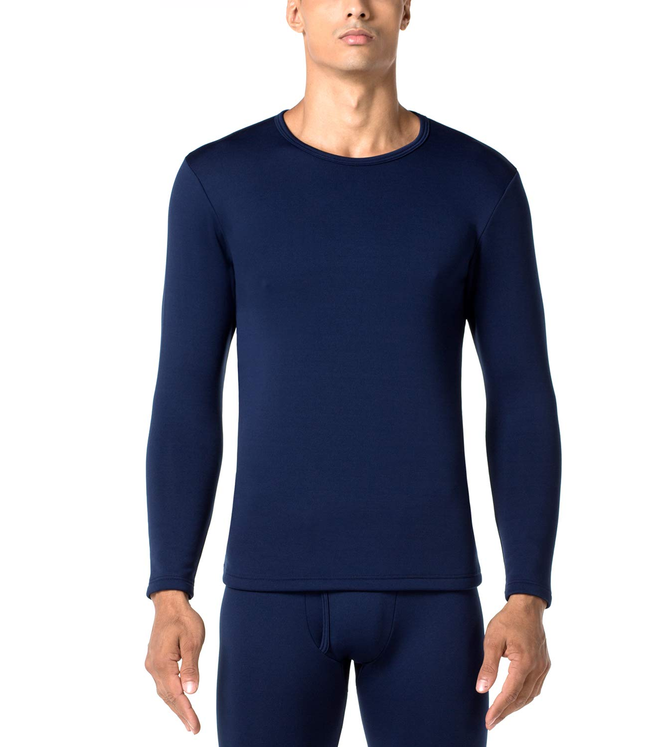 LAPASA Men's Heavyweight Thermal Underwear Top Fleece Lined Base Layer Long Sleeve Shirt M26 (1 Top/Navy, L Chest 41''-43'' Sleeve 23.6'') by LAPASA