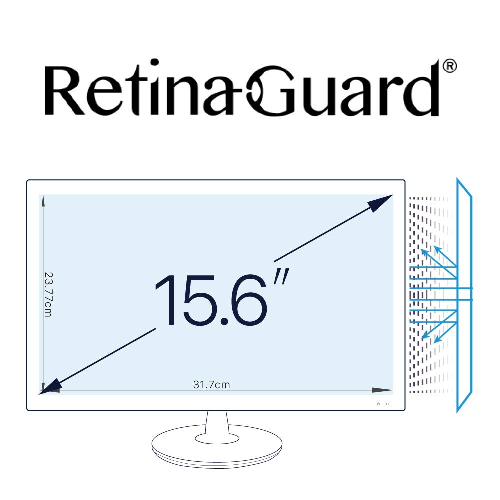 RetinaGuard Anti UV, Anti Blue Light Screen Protector for PC 15.6 Inch, SGS and Intertek Tested, Blocks Excessive Harmful Blue Light, Reduce Eye Fatigue and Eye Strain