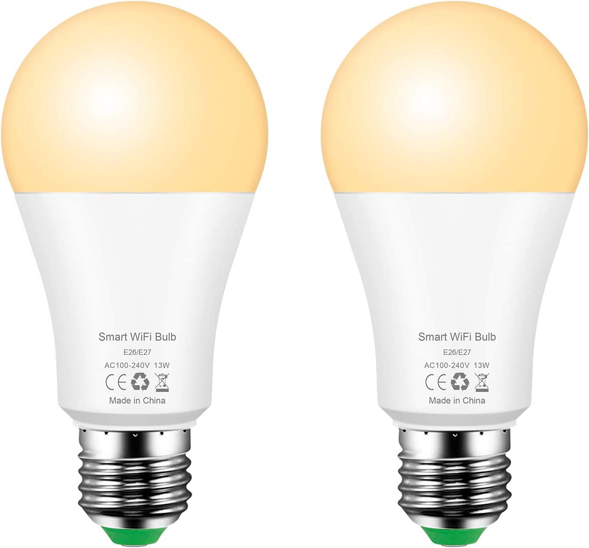 Smart Light Bulb 13W E26 LED WiFi Bulbs Warm White 2700K Compatible with Alexa and Google Home Assistant, A19 Bulbs 100W Equivalent (2 Pack)