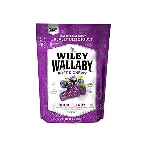 Wiley Wallaby Australian Style Gourmet Licorice, Huckleberry, 10 Ounce Bag