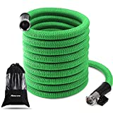Garden Hose Expandable, 50 Ft Lightweight Flex Durable Garden Hose Stand High Pressure, Cloth Shrinkable Outdoor Water Hose Heavy Duty with 3/4 Inch Anti-Rust Nickel Brass Bullet, No Tangle, No Kink