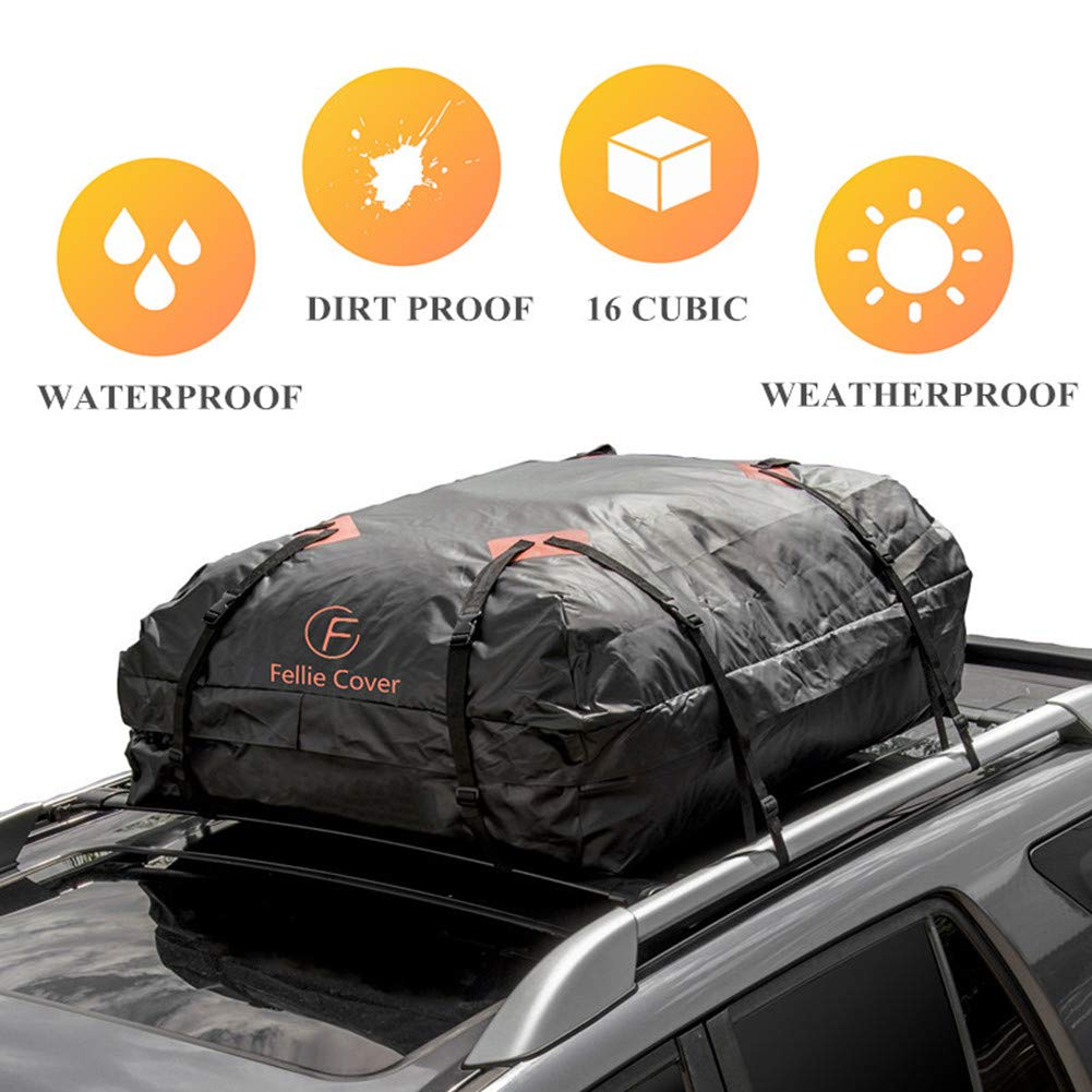F Fellie Cover Car Cargo Bag Waterproof Roof Carrier Bag Cross Country Soft Car Top Carrier Heavy Duty Straps Storage Bag Car SUV Jeep ATV (16 Cubic Feet Capacity)