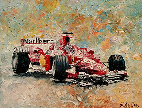 Wheel Lift, Ferrari Formula 1 Grand Prix Racing Motorsport Painting By Internationally Renown Painter Andre Dluhos