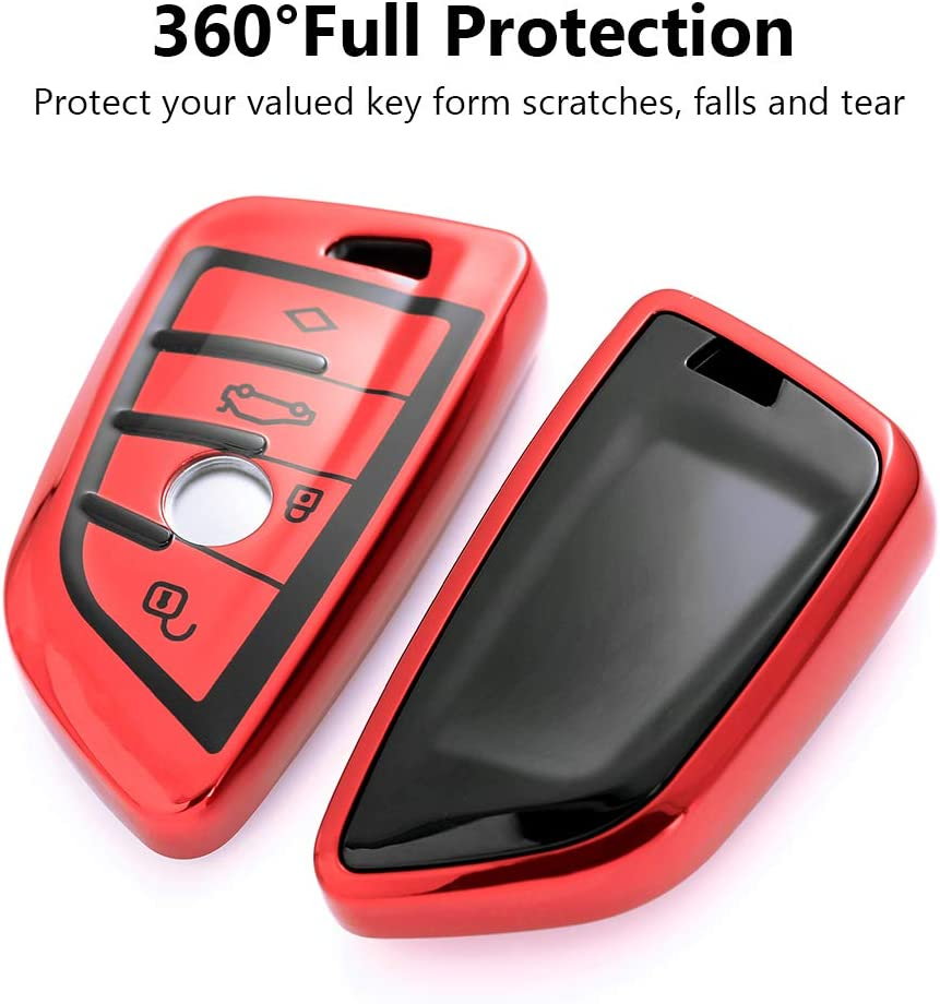 VANZAVANZU for BMW Key Fob Cover Red 360/° Full Protection Soft TPU Keyless Entry Remote Car Key Case Holder Protector for BMW New X5 X6 X1 1 Series//2 Series Coach
