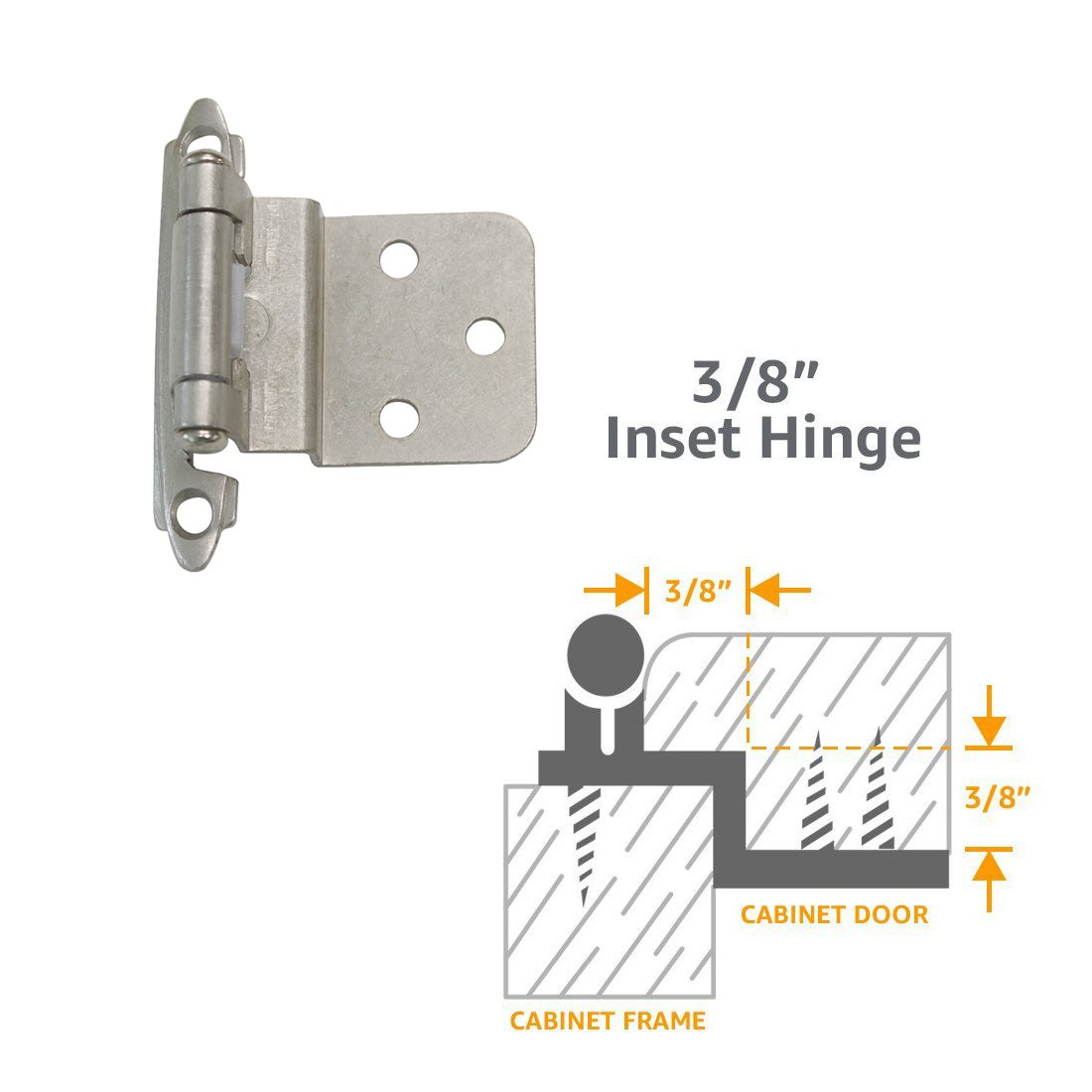 Gobrico Brushed Satin Nickel Self Closing Cabinet Ktichen Cupboard Hinges 3/8'' Inset 50Pair-100Pcs Pack