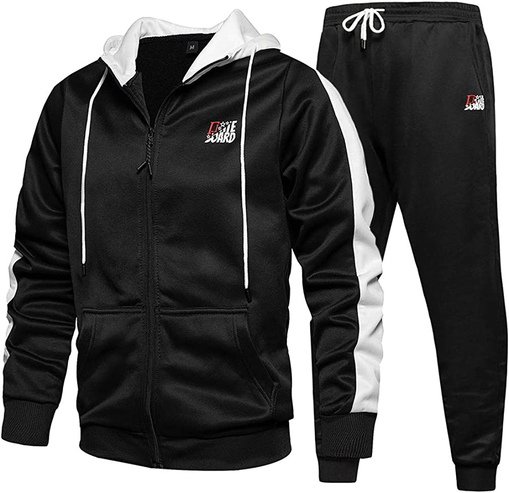 ZAPZEAL Mens Tracksuit 2 Piece Hooded Fitness Sport Suits Gym Hoodie Top Sports Jogging Bottom Plus Size S M L XL XXL