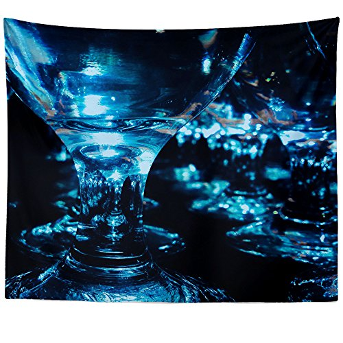Dark Blue Water Goblet - Westlake Art - Glass Photography - Wall Hanging Tapestry - Picture Photography Artwork Home Decor Living Room - 68x80 Inch (A7411)