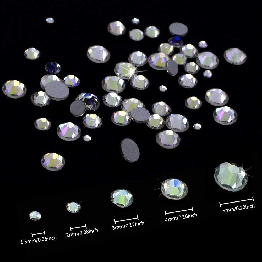 Jpsor 1000pcsクリアカラーフラットバックラインストーン円形クリスタルGems 1.6 MM、2 mm、3 mm、4 mm、5 mm、5サイズ   B07CTHK5CF