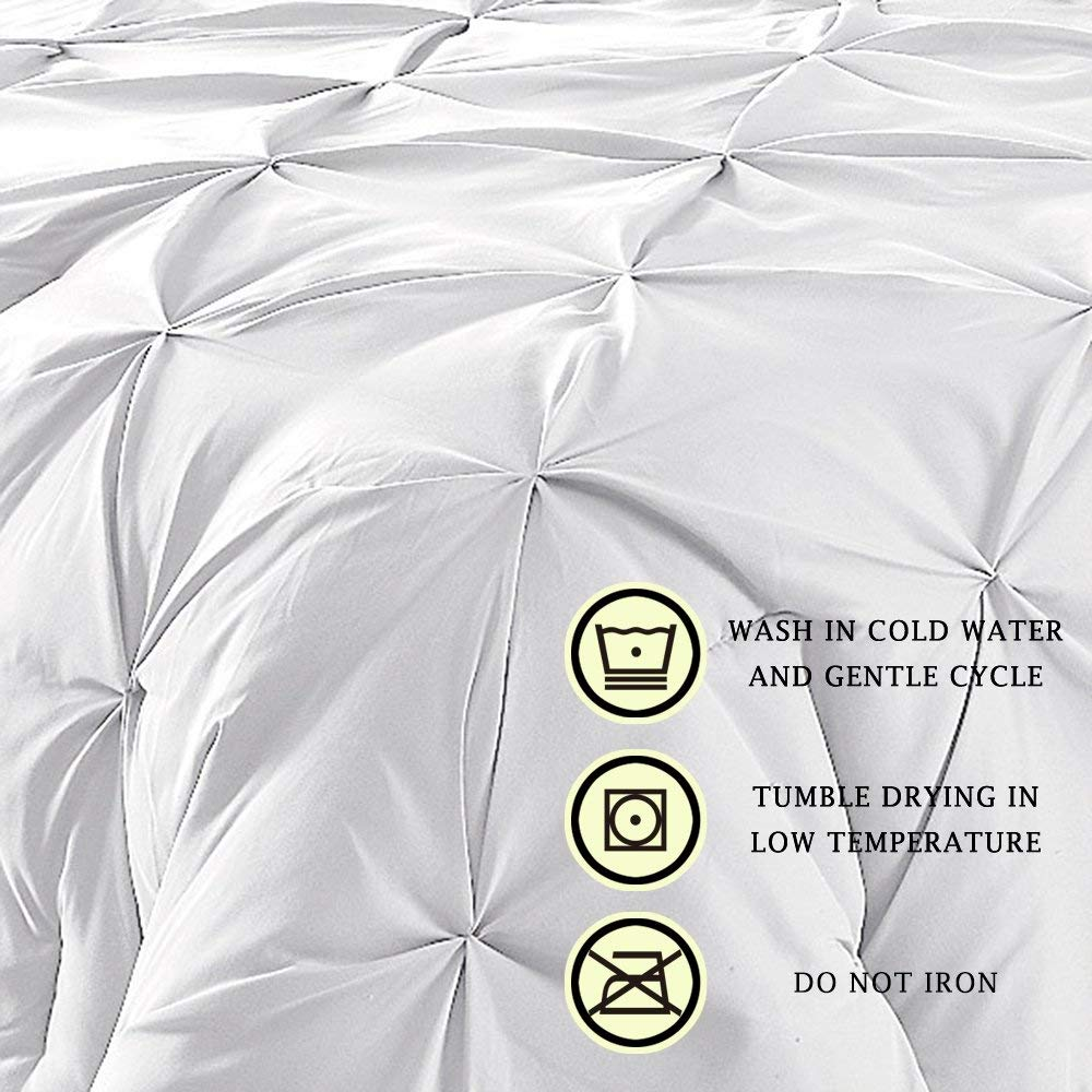 Comfy Bedding Double Needle Durable Stitching 3-Piece Pinch Pleat Comforter Set All Season Pintuck Style King White by Comfy Bedding (Image #3)