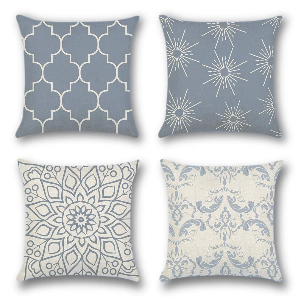 Artscope Throw Pillow Case Cushion Covers 45 X 45 Cm Cotton Linen Square Decorative Pillow Covers For Sofa Car Bedroom Indoor Outdoor Set Of 4 Geometric Pattern Grey A Buy Online