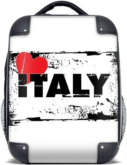 DIYthinker Amo Italia estuche rígido rectángulo Palabra del amor del corazón de transporte para hombro Niños Mochila 15