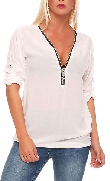 Malito Blusa con Maxi-Zipper Camisa Clásico 3/4 Túnika 9051 Mujer Talla Unica