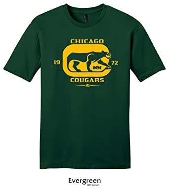 9f0a785bb51 Throwbackmax 1972 WHA Chicago Cougars Hockey Tee Shirt (Small, Evergreen)