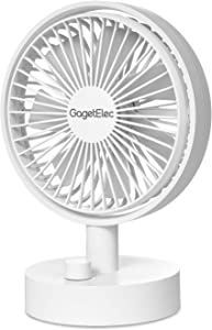 GagetElec USB Desk Fan 6.5 Inch Personal Fan with 10 Speeds Design Electric Portable Air Circulator Angle Adjustable Quiet Operation for Table Desktop/Home Office/Travel (White)