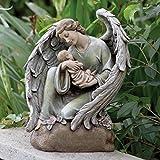 """16"""" Serene Memorial Angel with Baby Outdoor Patio Garden Statue"""