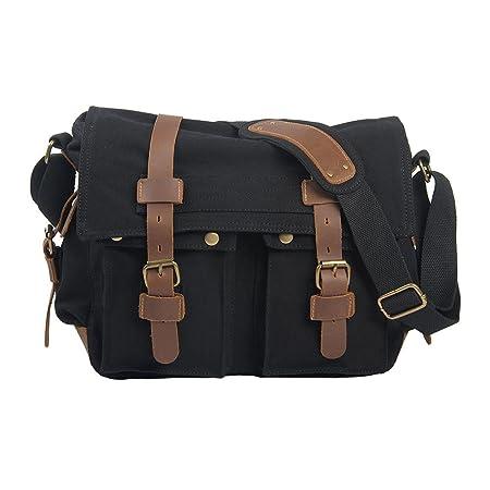 VRIKOO Vintage Military Canvas Crossbody Sports Casual Shoulder Bags Satchel School Messenger Bag (Carbon Black) KHeY1ahRcV