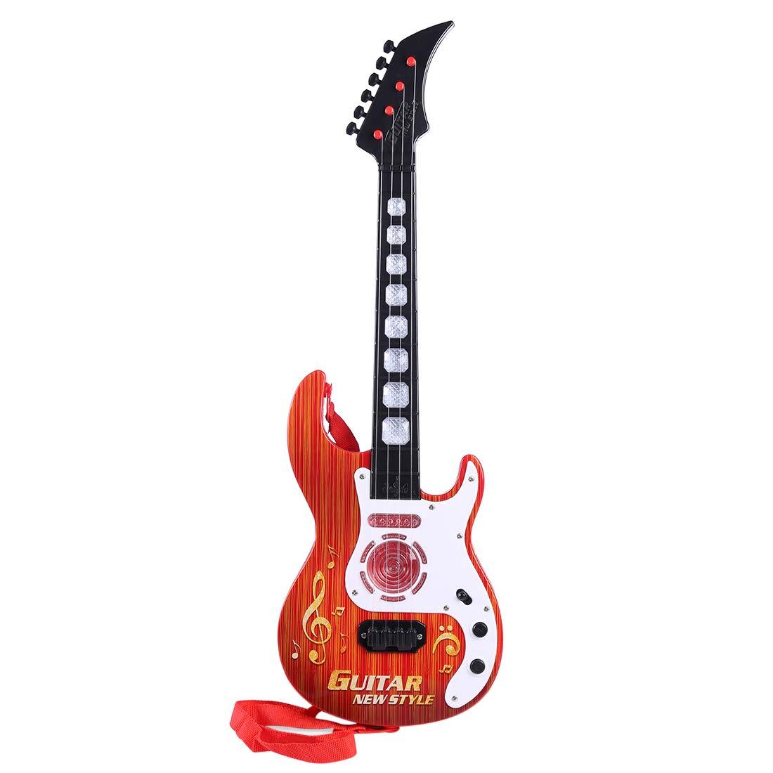 MRKE Guitarra Electrica Niños 53cm 4 Cuerdas Rock Juguete de Instrumentos Musicales Guitarra Regalo con LED Luces para Infantil Niño y Niña 3-8 Años: ...