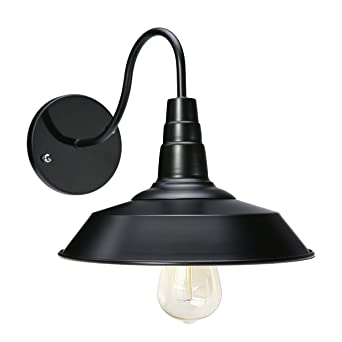 Jeteven Metal 1 Light Wall Sconce Lamp Shade Industrial Gooseneck Barn Light  Fixtures Restaurant Indoor