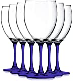 Cobalt Blue Nuance Wine Glassware with Beautiful Colored Stem Accent - 10 oz. set of 6- Additional Vibrant Colors Available by TableTop King
