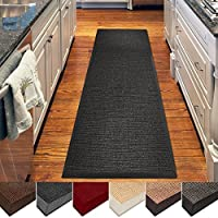 casa pura Sisal Rug | 100% Natural Fiber Area Rug | Non-Skid Eco-Friendly Throw Carpet for Entryway, Dining or Living Room and Sizes | Black- 2.6 x 9