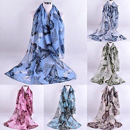 Echarpe Imprimé Écharpes Bleu Mode En Casual Foulards De Soie Femmes Élégant Adeshop Châle Mousseline Doux Écharpe Multifonctions nICqEna