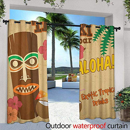 Tiki Bar Outdoor Curtains Polynesian Statue with Tropical Drink Retro Typography and Flora Old Aged Design Embossed Thermal Weaved Blackout 108