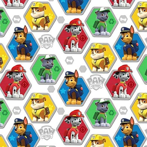 Paw Patrol Rescue White Cotton Fabric by The Yard Precut 1 Yard Pieces