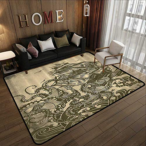 Low-Profile Mats,Ocean Sail Boat Waves and Octopus Kraken Tentacles Country Decorations for Bathroom Sepia Print,Yellow Olive 71
