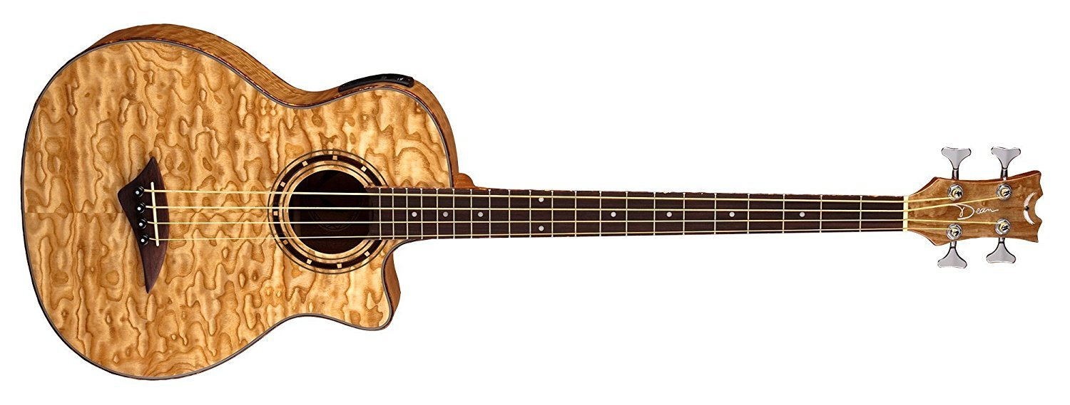 Dean EQABA GN Exotica Quilt Ash Acoustic/Electric Bass Guitar with Aphex, Gloss Natural