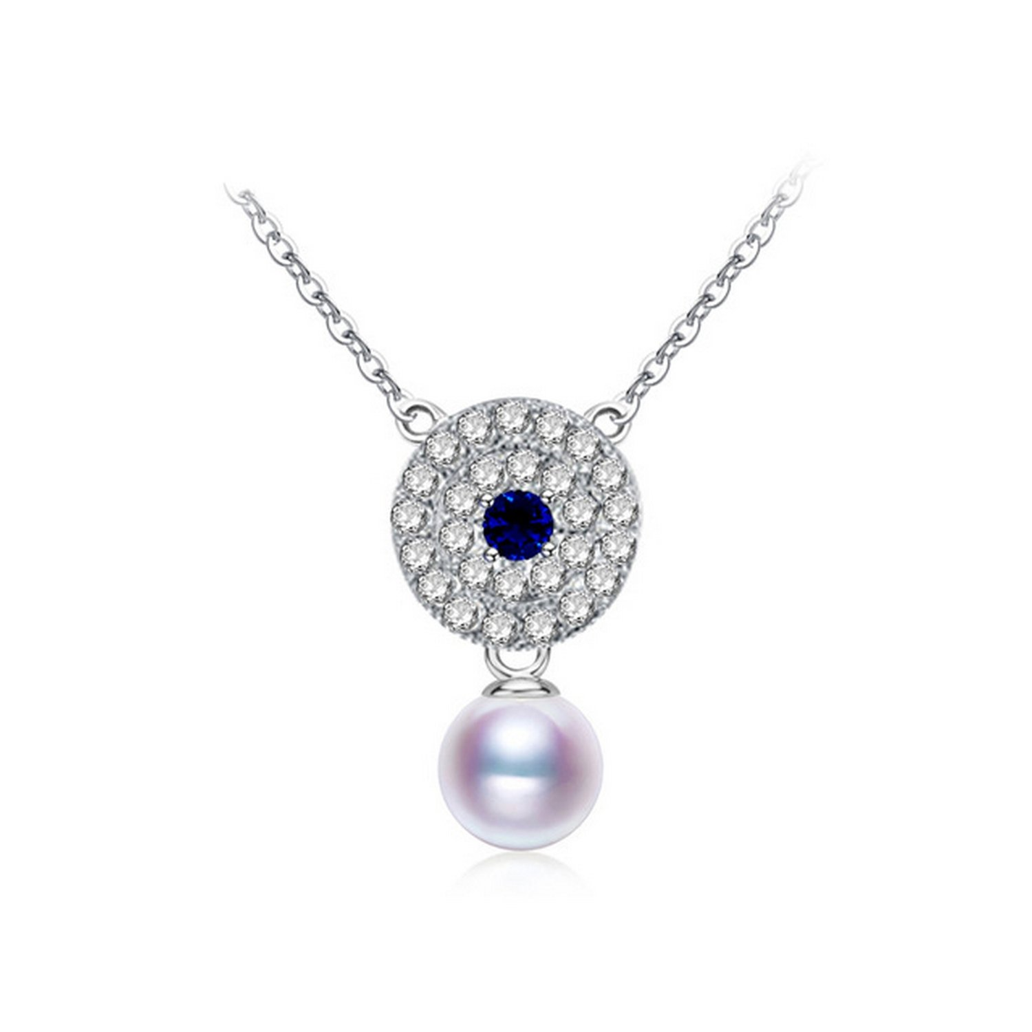 CS-DB Jewelry Silver Round Pearl Classic Chain Charm Pendants Necklaces