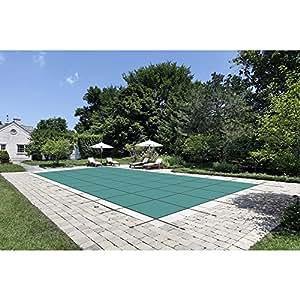 Agua de Custodio 20ft. x 42pies. Rectangular verde malla de seguridad cubierta de la piscina para 18pies x 40pies. Piscina