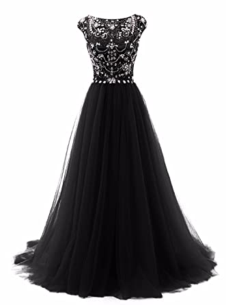 Promworld Womens Party Gowns Cap Sleeve Crystal Tulle Long Prom Dresses Black US2