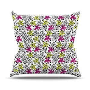 Kess Nandita Singh flores internos spread rosa amarillo al aire libre manta almohada, 16por 40,64cm